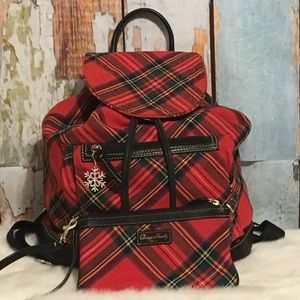 Dooney And Bourke Plaid Tartan Backpack & Wristlet